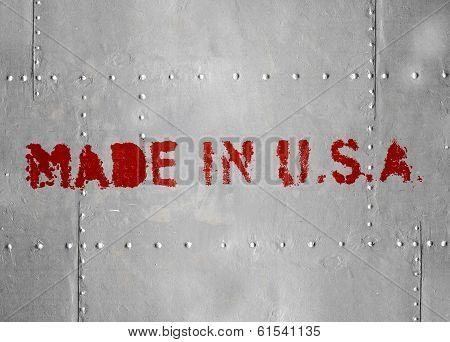 Made In Usa. Red Label On Gray Metal Hull