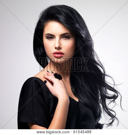 Portrait  Of An Young Woman With Long  Hair.