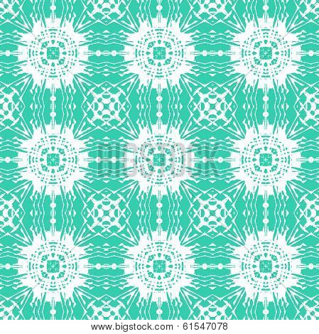 Geometric art deco pattern with floral shapes