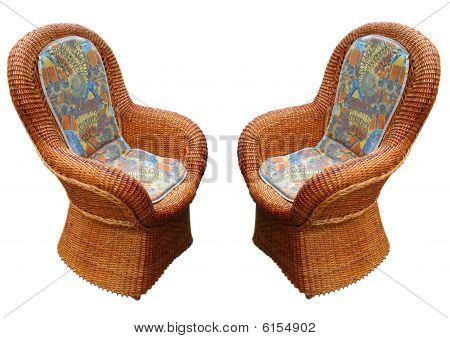 Vintage Pattern Wooden Armchair Isolated - Home Decor