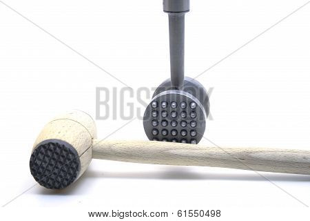 Silver Meat tenderizer on white background