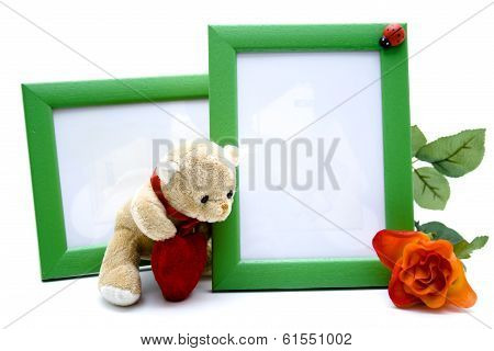 Picture Frames with Teddy Bear and Red Rose