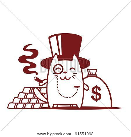 Character Rich Gentleman In A Hat-cylinder And A Monocle Line Art