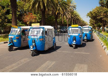 Auto Rickshaw Taxis At Bahir Dar In Ethiopia