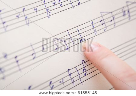 Music book with hand written notes