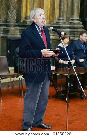 MOSCOW, RUSSIA - NOV 18, 2013: Eduard Artemyev (Soviet and Russian composer) at ceremony on Gold Medal of Lev Nikolayev in Pushkin Museum.