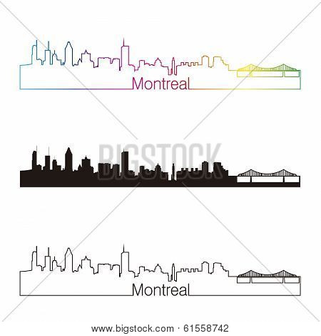 Montreal Skyline Linear Style With Rainbow