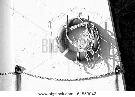 Life buoy on pier