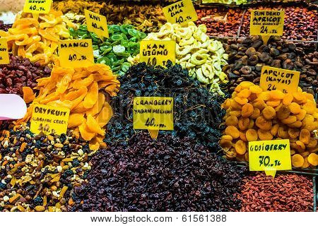 Dry fruits displayed for sale in a bazaar