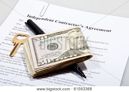 Contactor's agreement with key and Dollar notes