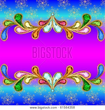 Background With A Horizontal Band Of Jewels And Ornaments Of Gold
