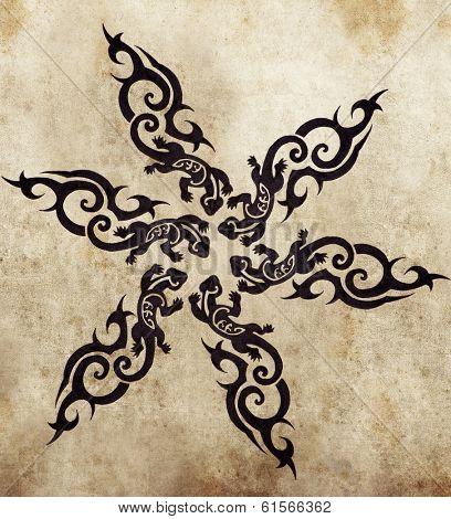 Sketch of tattoo art, handmade illustration
