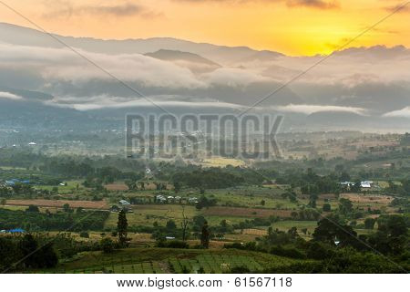 Beautiful sunrise over the valley of Pai, Northern Thailand