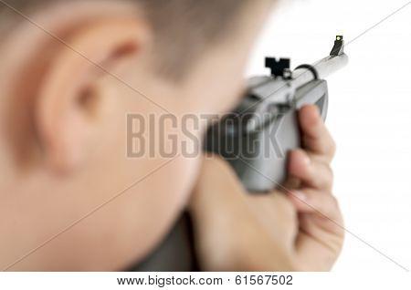 Boy Targeting With Airgun Horizontal