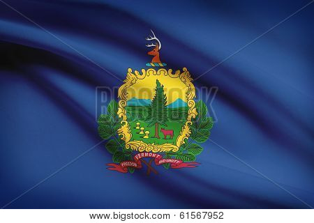 Series Of Ruffled Flags. State Of Vermont.