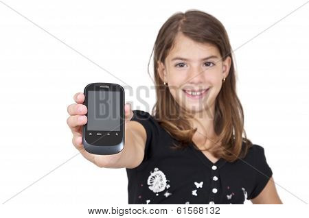 Girl Showing Mobile Phone With Clipping Path