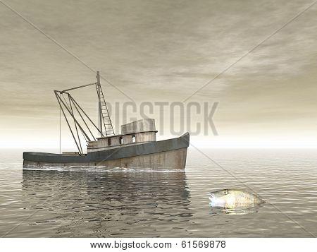 Old fishing boat - 3D render