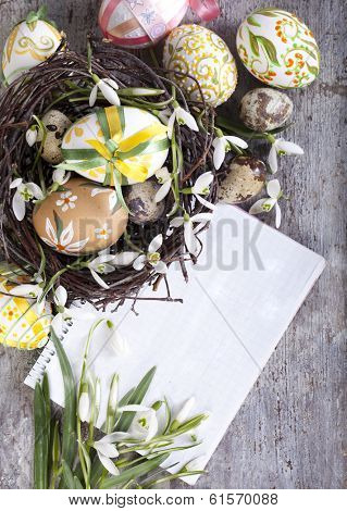 Easter eggs and paper