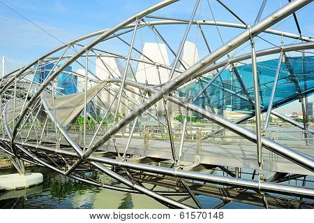 Helix Bridge And Downtown Of Singapore