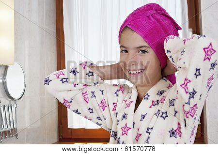 Young Woman In Bath Robe