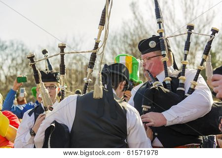 Irish Bagpipers Rehearsing Before Parade