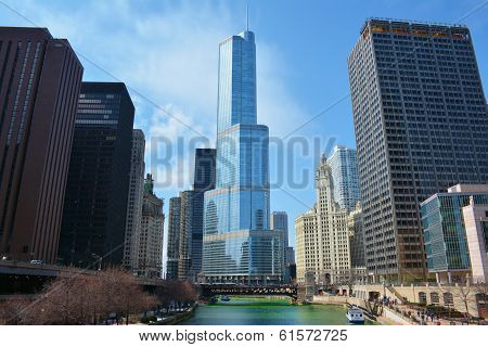Downtown Chicago and the Chicago River.