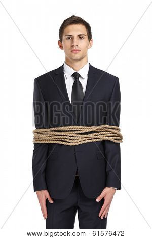 Portrait of businessman tied with the line, isolated on white. Concept of slavery and violence