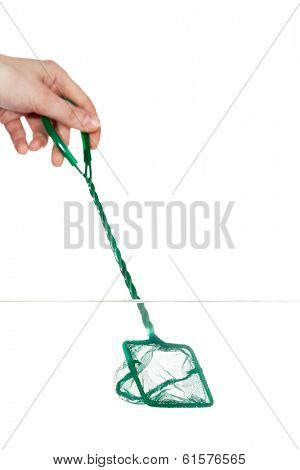 Close up of hand with green landing net in fishbowl, isolated on white. Concept of cleaning and environment