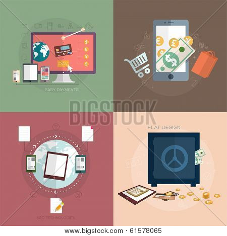Set of Flat Design Icons. Mobile Phones, Tablet PC, Marketing Technologies, Mobile Apps, Email, Video Services and Money Management. Concept Icons for Web Site Design. Digital Art and Gadgets.