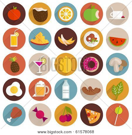 Food and Drinks Flat Design Icons Set. Vegetables and Fruits, Meat, Cocktails, Milk, Juices and Smoothies, Cheese and Pizza. Eps 10 Vector Illustration.