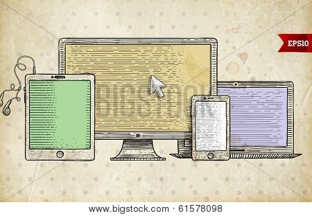 Vintage Engraving Style Icons. Mobile Phone, Tablet PC. Responsive Web Design. Retro Art.