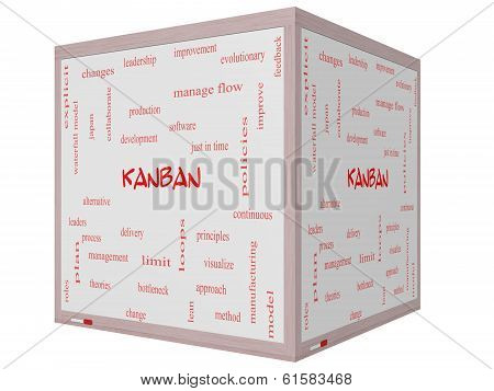 Kanban Word Cloud Concept On A 3D Cube Whiteboard