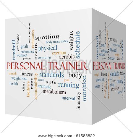 Personal Trainer 3D Cube Word Cloud Concept