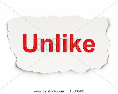 Social media concept: Unlike on Paper background