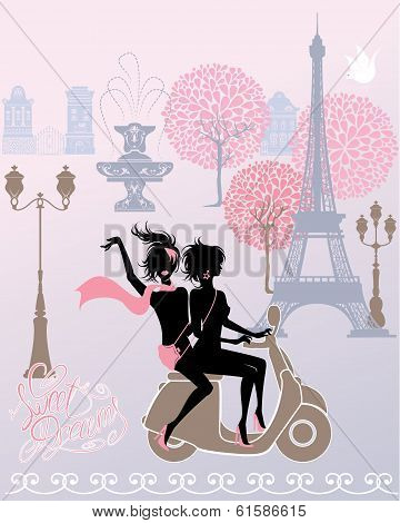 Silhouettes Of Effel Tower, Houses, Street Lights, Girls Riding On Scooter - Paris Fashion Image.