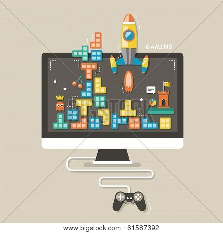 Flat Design Icons Concept Of Computer Games