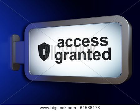 Security concept: Access Granted and Shield With Keyhole on bill
