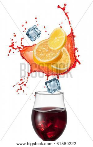 Sangria drink with ingredients isolated on white background