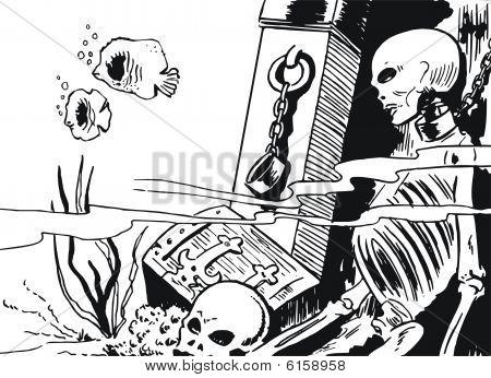 Human Skeleton In Underwater Ruins