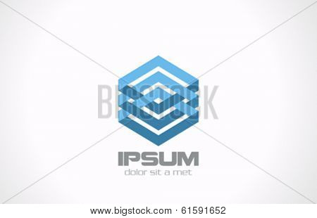 Corporate Business luxury fashion vector logo design template. Rhombus infinite shape icon. Abstract Financial insignia symbol. Finance hexagon Emblem.