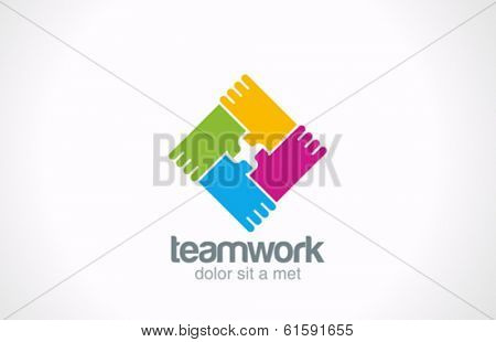 Team holding hands vector logo design template. Corporate soacil teamwork icon. Network concept