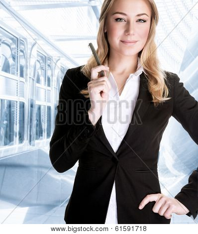 Successful businesswoman talking on the phone, waiting for a business partner, serious people, success and career concept