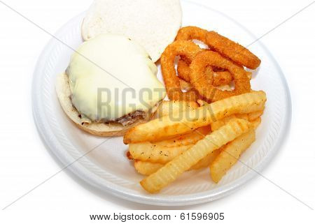 Cheesy Burger With Onion Rings And Fries