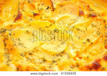 Close-up Of A Cheesy Potato Casserole