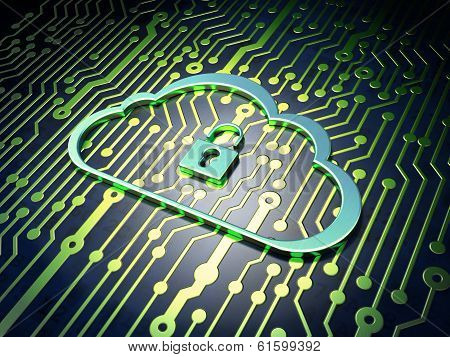 Cloud technology concept: Cloud Whis Padlock on circuit board ba