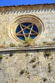 foto of pentagram  - Church of San Juan in Castrojeriz Burgos Spain dating from the thirteenth century - JPG