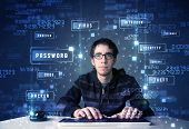 stock photo of sneak  - Hacker programing in technology enviroment with cyber icons and symbols - JPG