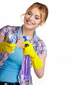 stock photo of spring-cleaning  - Spring cleaning woman pointing cleaning spray bottle - JPG