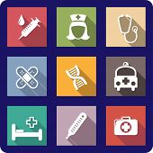 picture of bandage  - Set of colorful flat medical and healthcare icons depicting a syringe - JPG