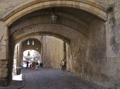 The arched entrance to The Archbishop's Palace, Narbonne, France